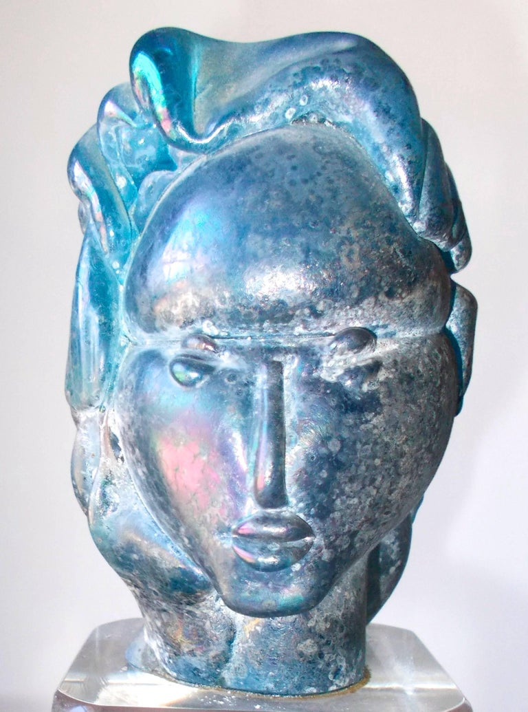 Alfredo Barbini 'Attributed' Iridized Blue Glass Sculpture For Sale 1