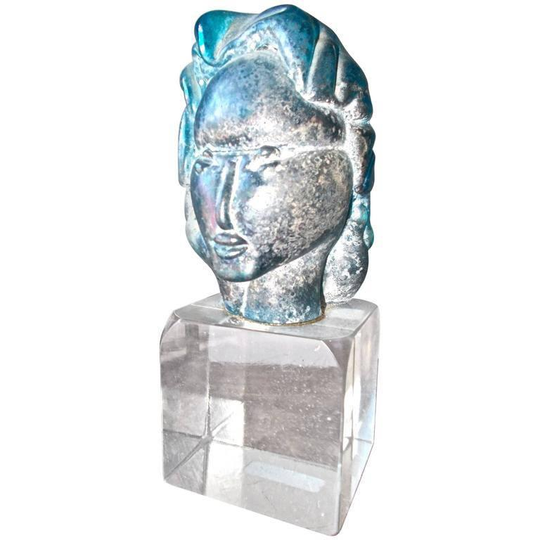 Alfredo Barbini 'Attributed' Iridized Blue Glass Sculpture For Sale
