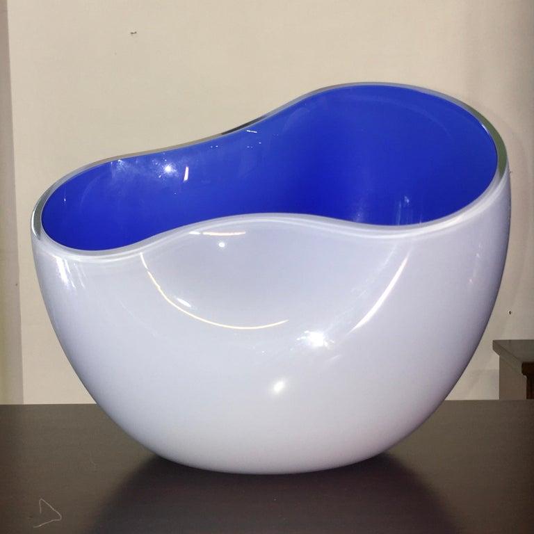 Italian Alfredo Barbini Biomorphic Glass Bowl, Signed For Sale