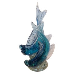 Alfredo Barbini for Cenedese Monumental Murano Double Fish sculpture