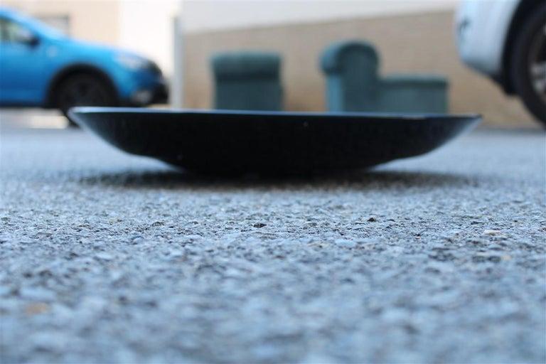 Murano Glass Alfredo Barbini Great Plate Murano Art Glass Black Corroded Copper Green, 1980 For Sale