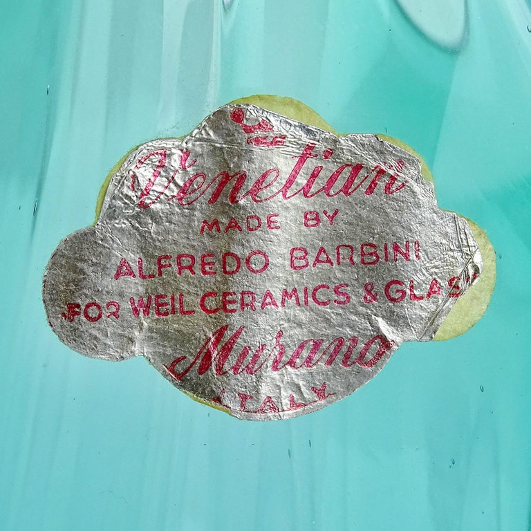 Hand-Crafted Alfredo Barbini Murano Aqua Gold Flecks Italian Art Glass Flower Basket Vase