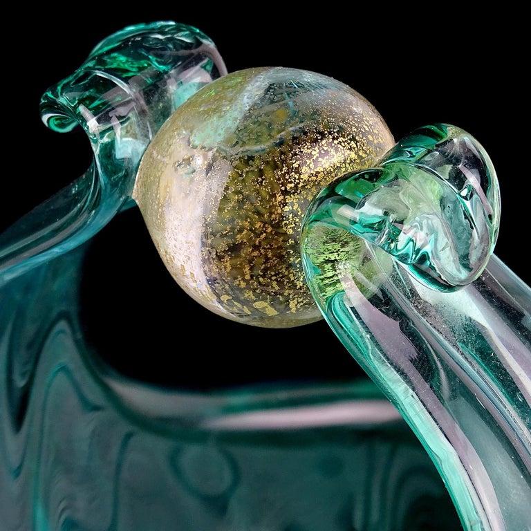 Alfredo Barbini Murano Aqua Gold Flecks Italian Art Glass Flower Basket Vase In Good Condition In Kissimmee, FL