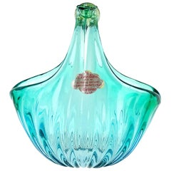 Alfredo Barbini Murano Aqua Gold Flecks Italian Art Glass Flower Basket Vase