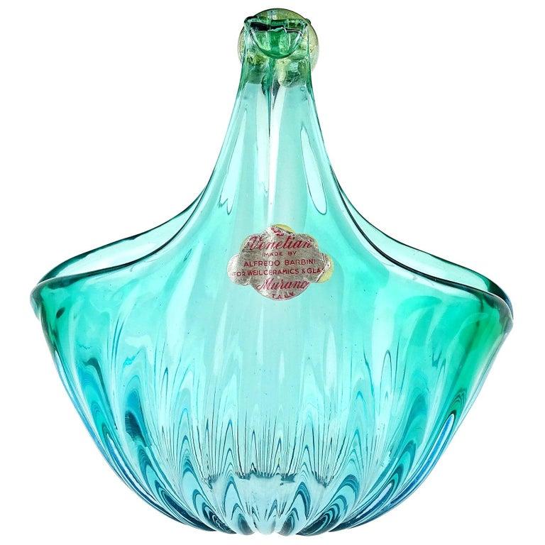 Alfredo Barbini Murano Aqua Gold Flecks Italian Art Glass Flower Basket Vase