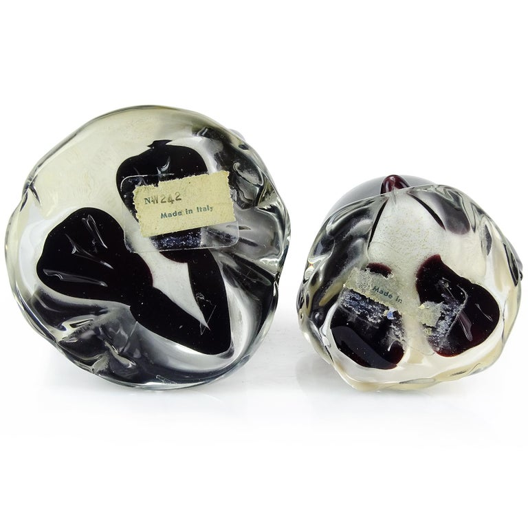Alfredo Barbini Murano Black Gold Flecks Italian Art Glass Penguin Sculptures In Good Condition For Sale In Kissimmee, FL