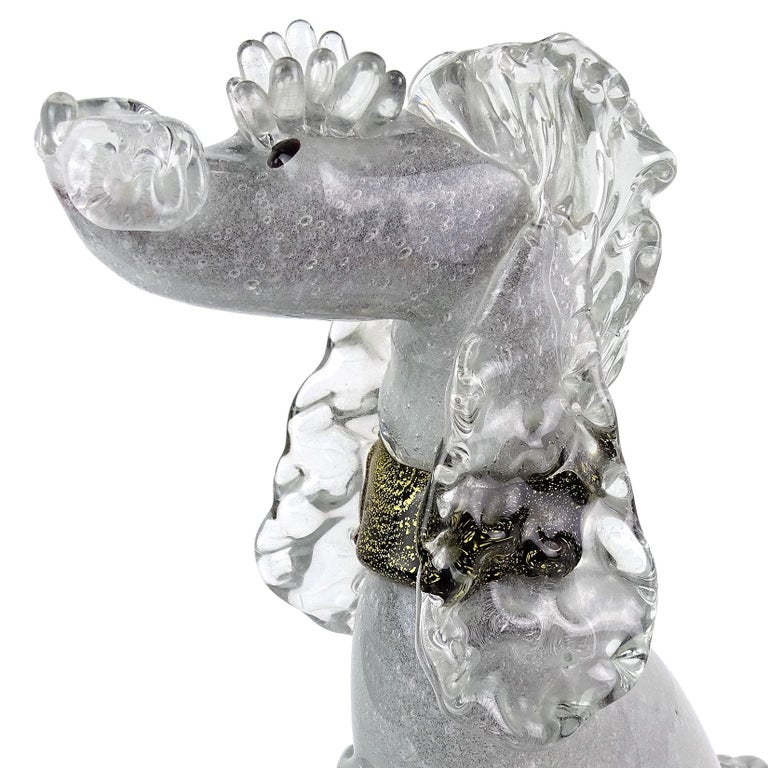 Beautiful and rare Murano hand blown Pulegoso bubbles, black and gold Italian art glass poodle puppy dog sculpture. Documented to designer Alfredo Barbini, circa 1950-1960 and published in his catalog. Highly detailed, even with eyelashes over the