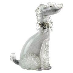 Alfredo Barbini Murano Black Gray Gold Italian Art Glass Poodle Dog Sculpture