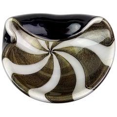 Alfredo Barbini Murano Black White Stripes Gold Flecks Italian Art Glass Bowl