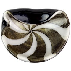 Alfredo Barbini Murano Black White Stripes Gold Flecks Italian Art Glass Bowl