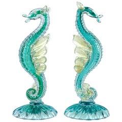 Alfredo Barbini Murano Blue Sea Horse Hippocampus Italian Art Glass Sculptures