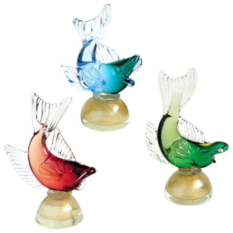 Alfredo Barbini Murano Colorful Sommerso Italian Art Glass Fish Sculptures