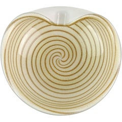 Alfredo Barbini Murano Gold Aventurine Flecks Swirl Italian Art Glass Vide-Poche