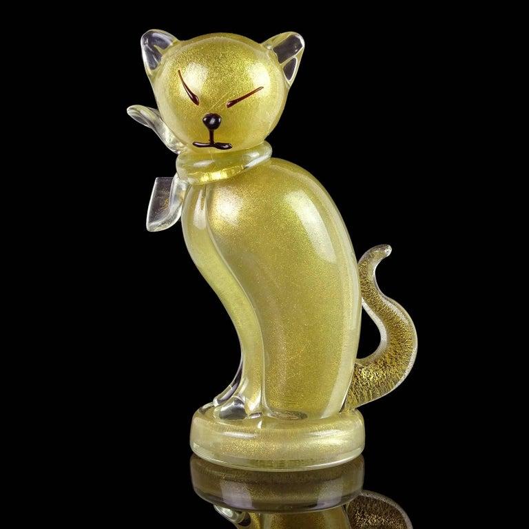 20th Century Alfredo Barbini Murano Gold Flecks Italian Art Glass Kitty Cat Sculpture Figure For Sale