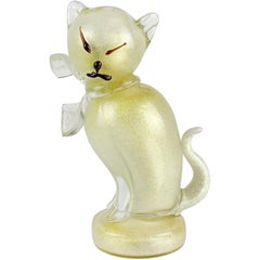 Alfredo Barbini Murano Gold Flecks Italian Art Glass Kitty Cat Sculpture Figure