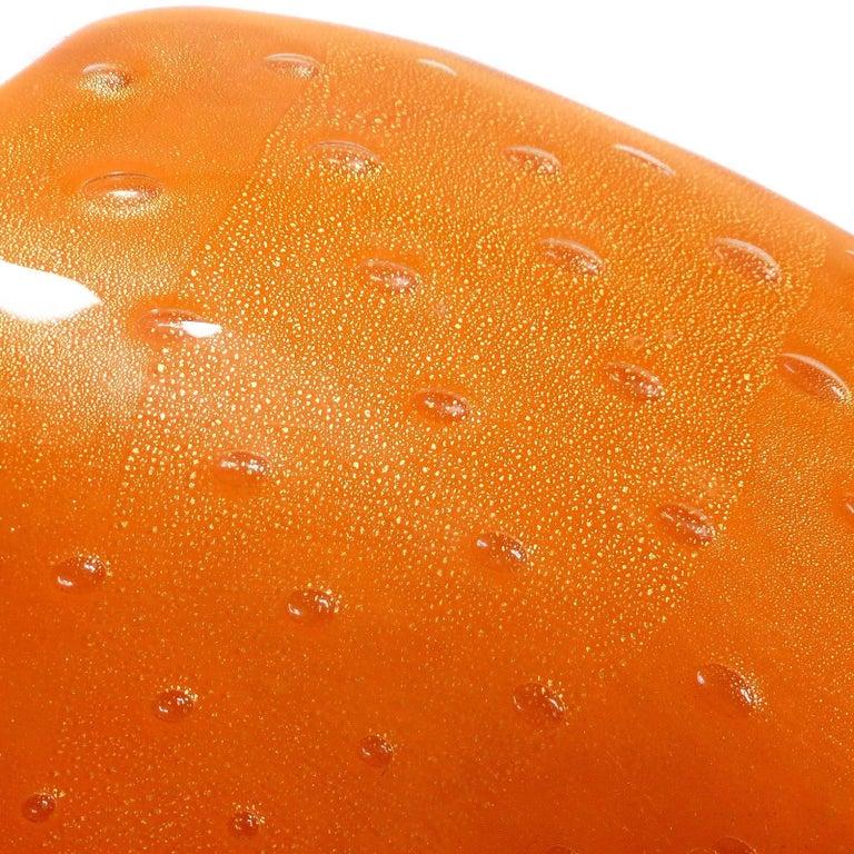Hand-Crafted Alfredo Barbini Murano Gold Flecks Orange Bubbles Italian Art Glass Leaf Bowls For Sale