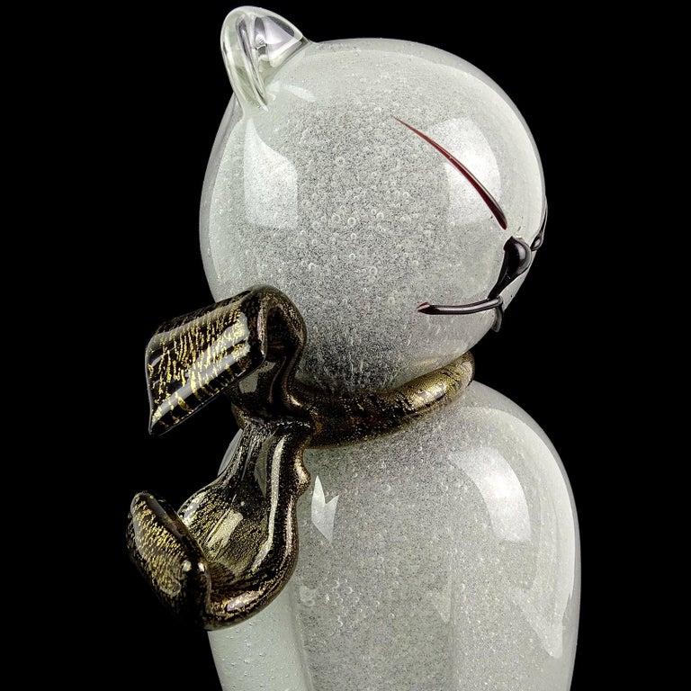 Alfredo Barbini Murano Gray Gold Flecks Italian Art Glass Kitty Cat Sculpture In Good Condition For Sale In Kissimmee, FL