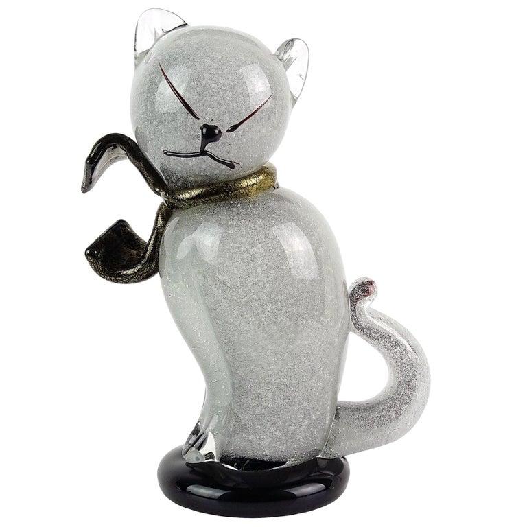 Alfredo Barbini Murano Gray Gold Flecks Italian Art Glass Kitty Cat Sculpture For Sale