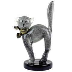 Alfredo Barbini Murano Gray Gold Flecks Italian Art Glass Kitty Cat Sculpture