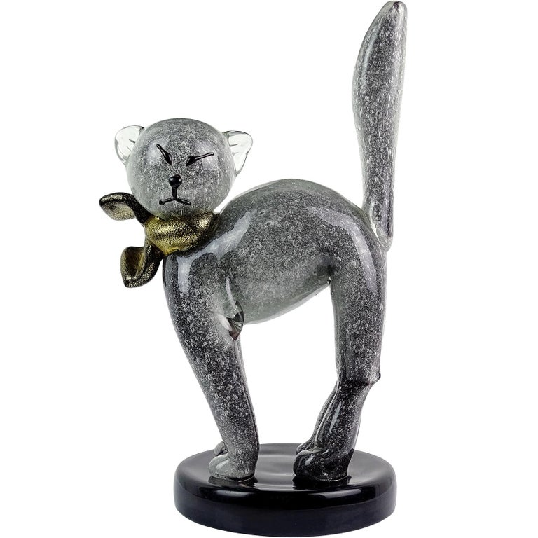 Alfredo Barbini Murano Gray Gold Flecks Italian Art Glass Kitty Cat Sculpture For Sale