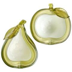 Alfredo Barbini Murano Green Apple Pear Gold Flecks Italian Art Glass Bowls