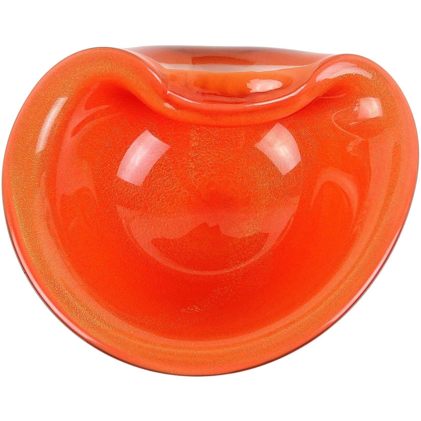 Alfredo Barbini Murano Orange Gold Fleck Italian Art Glass Midcentury Bowl Dish