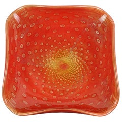 Alfredo Barbini Murano Orange Gold Flecks Italian Art Glass Centrepiece Bowl