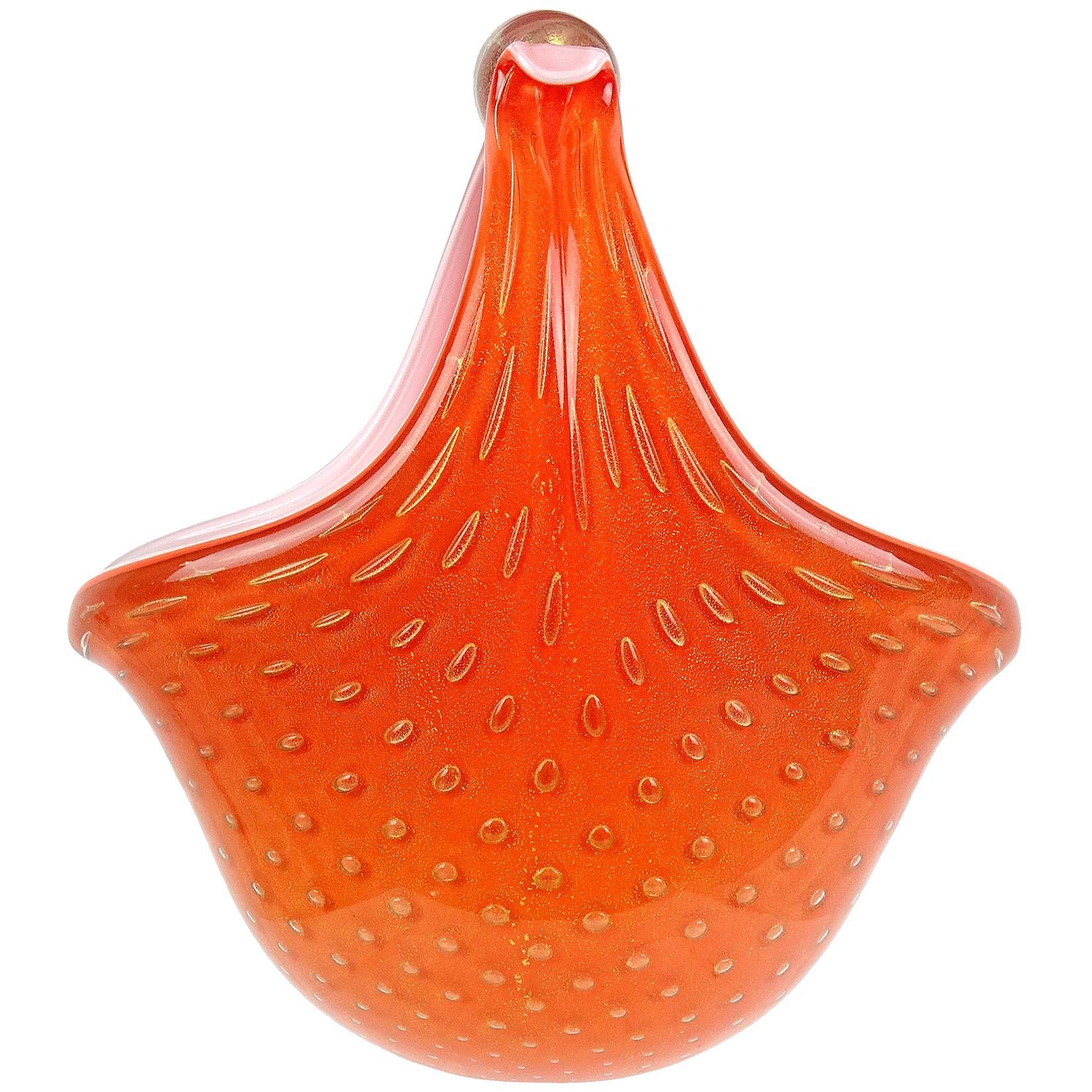 Alfredo Barbini Murano Orange Gold Flecks Italian Art Glass Flower Basket Vase