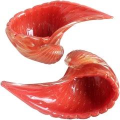 Alfredo Barbini Murano Orange Gold Flecks Italian Art Glass Seashell Bowls