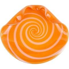 Alfredo Barbini Murano Orange White Gold Italian Art Glass Centerpiece Bowl