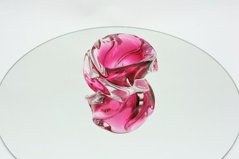 Alfredo Barbini Murano Pink and Clear Sommerso Glass Bowl / Ashtray For Sale 11