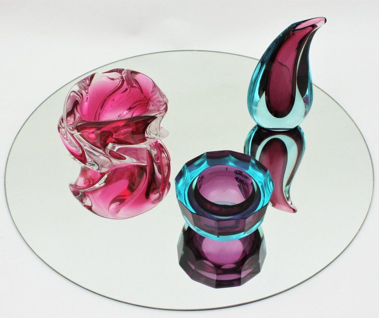 Alfredo Barbini Murano Pink and Clear Sommerso Glass Bowl / Ashtray For Sale 12