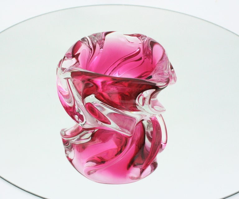 Mid-Century Modern Alfredo Barbini Murano Pink and Clear Sommerso Glass Bowl / Ashtray For Sale