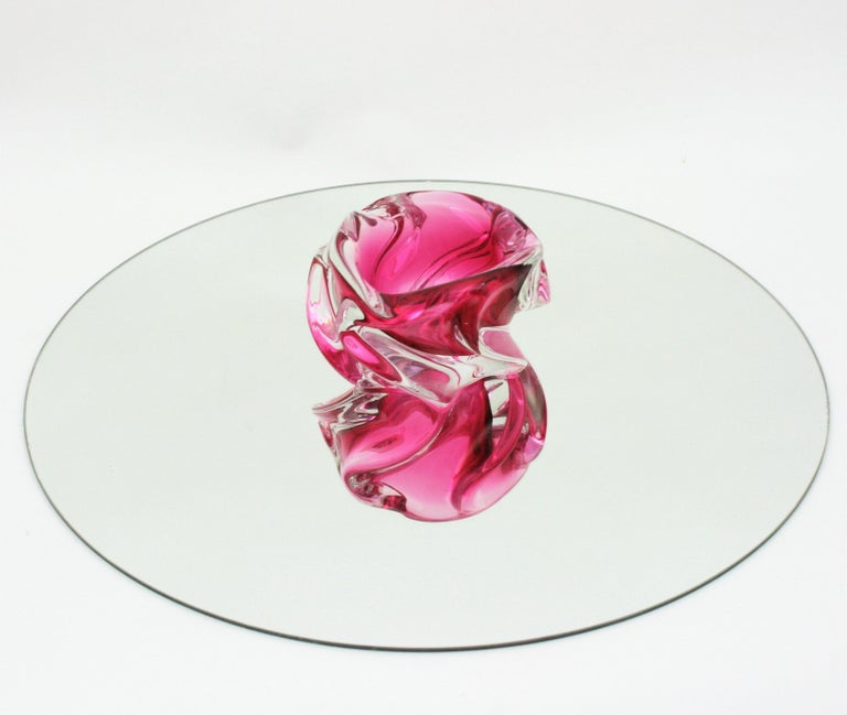 Alfredo Barbini Murano Pink and Clear Sommerso Glass Bowl / Ashtray For Sale 2
