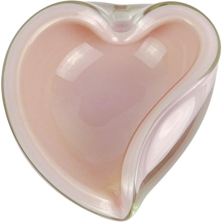 Alfredo Barbini Murano Pink Gold Flecks Italian Art Glass Heart Shape Bowl Dish For Sale