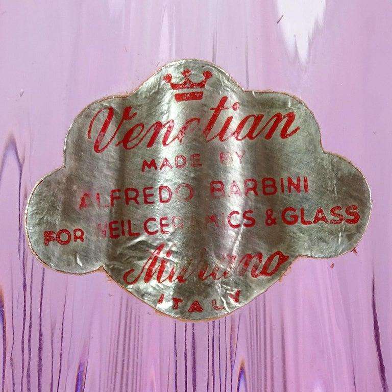 Hand-Crafted Alfredo Barbini Murano Purple Gold Flecks Italian Art Glass Flower Basket Vase For Sale