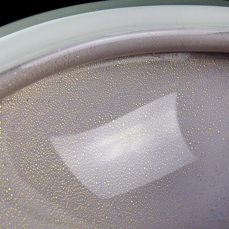 Mid-Century Modern Alfredo Barbini Murano Purple Gold Flecks Italian Art Glass Midcentury Bowl For Sale