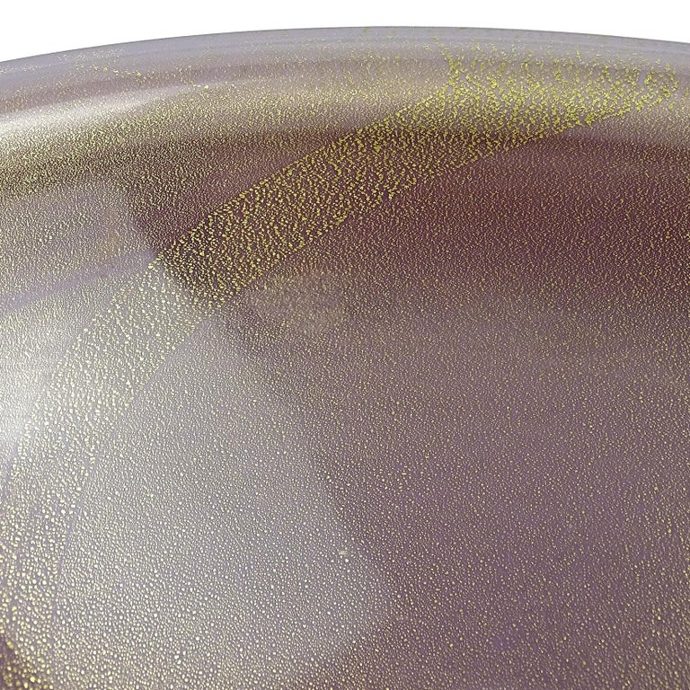 Hand-Crafted Alfredo Barbini Murano Purple Gold Flecks Italian Art Glass Midcentury Bowl For Sale