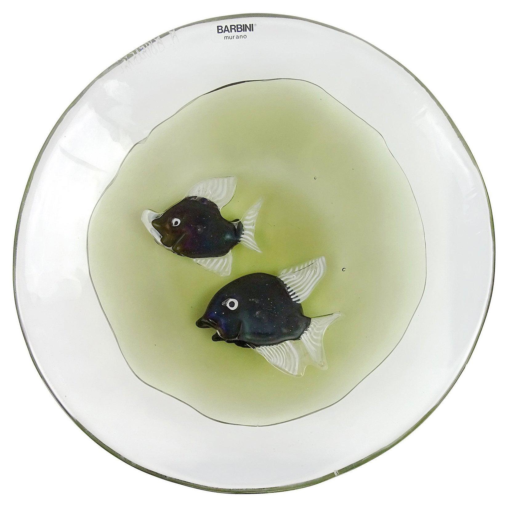 Alfredo Barbini Murano Signed Iridescent Fish Italian Art Glass Display Bowl