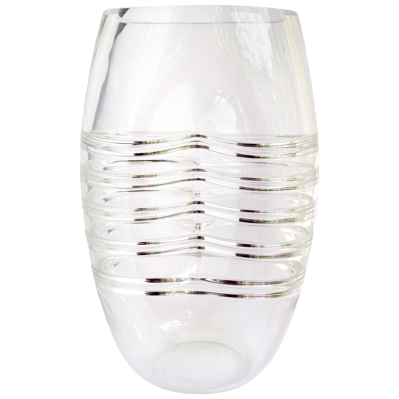 Alfredo Barbini Murano Signed Rib Cage Design Italian Art Glass Flower Vase