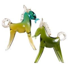 Alfredo Barbini Murano Sommerso Green Gold Italian Art Glass Horse Pony Set