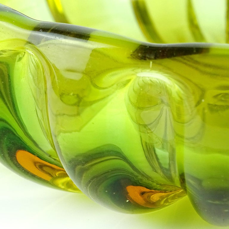 Mid-Century Modern Alfredo Barbini Murano Sommerso Green Orange Ribbed Italian Art Glass Bowl Dish For Sale
