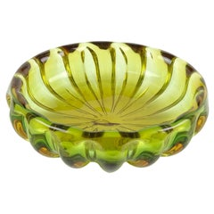 Alfredo Barbini Murano Sommerso Green Orange Ribbed Italian Art Glass Bowl Dish