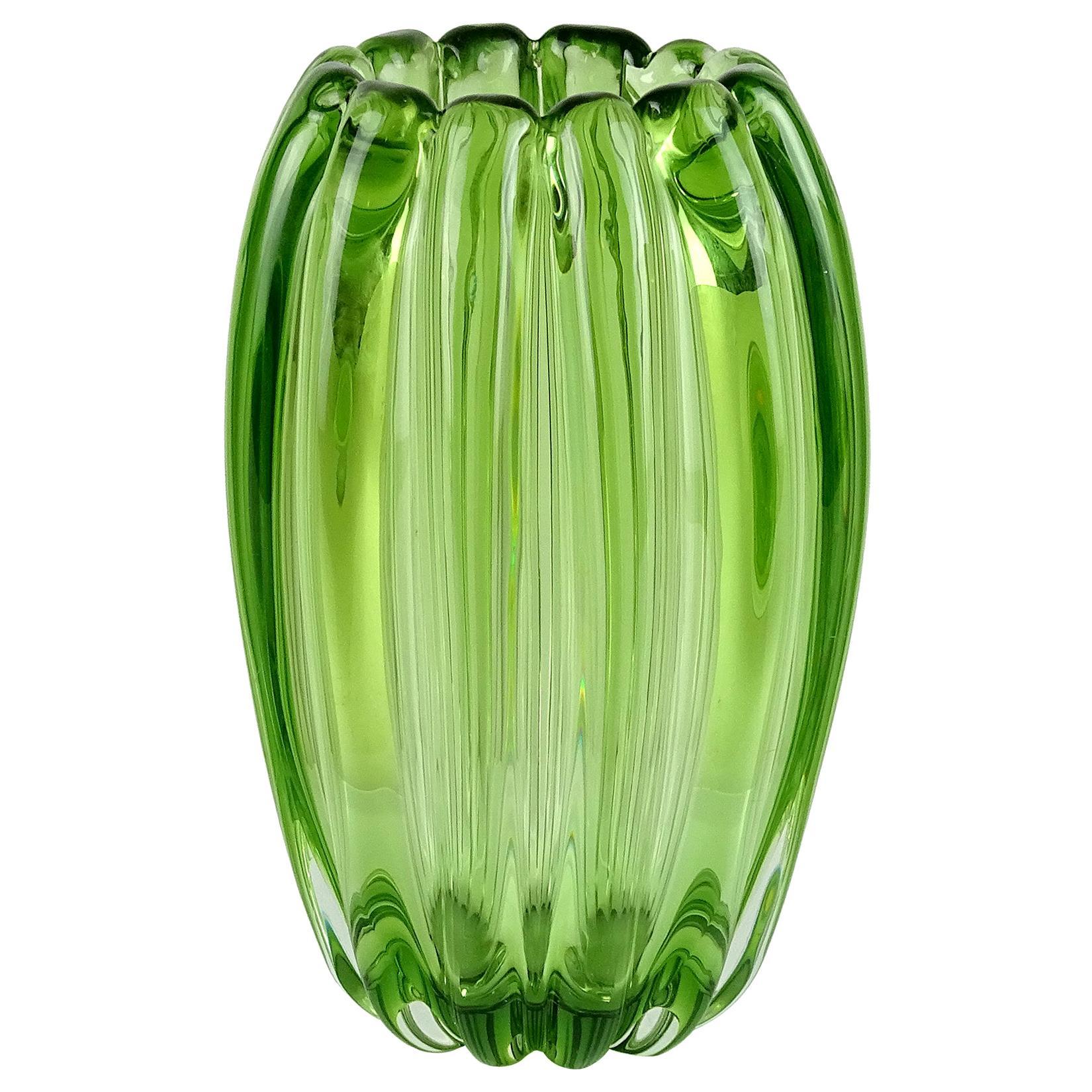 Alfredo Barbini Murano Sommerso Green Ribbed Italian Art Glass Flower Vase