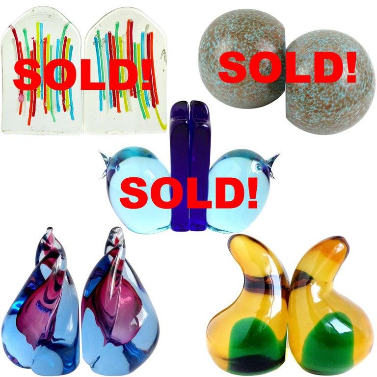 20th Century Alfredo Barbini Murano Sommerso Purple Blue Flame Italian Art Glass Bookends For Sale