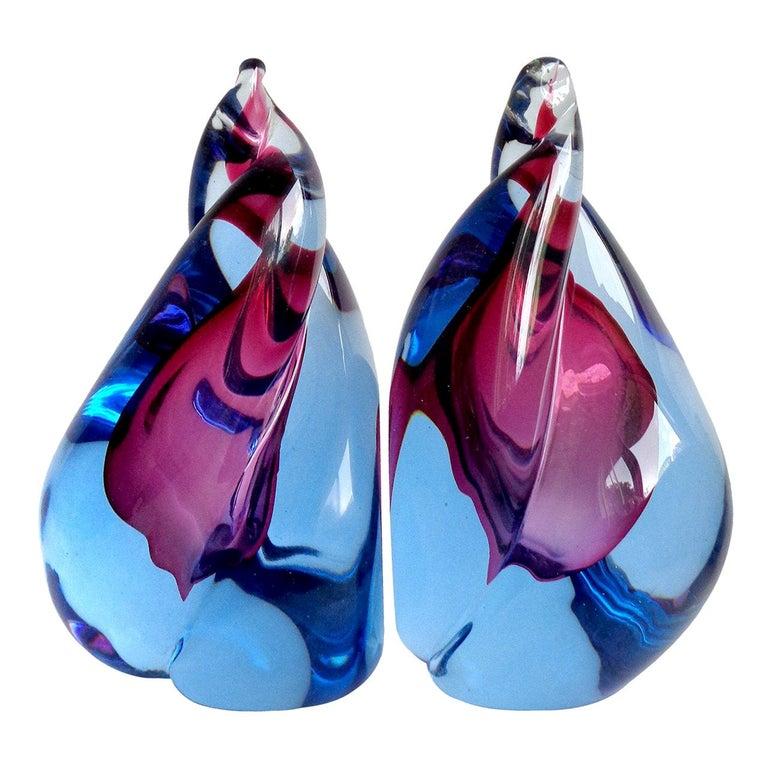 Alfredo Barbini Murano Sommerso Purple Blue Flame Italian Art Glass Bookends For Sale