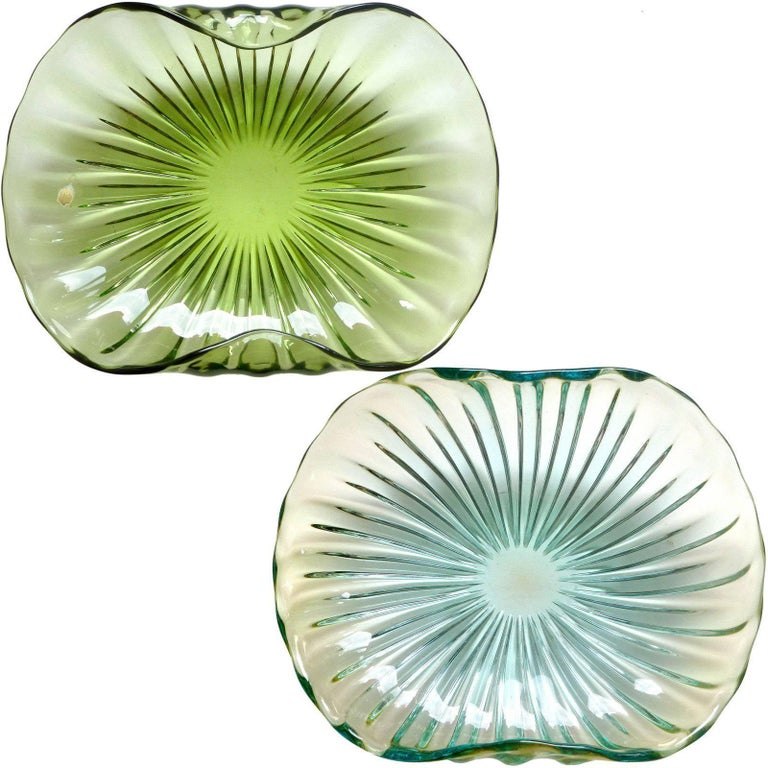 Alfredo Barbini Murano Sommerso Ribbed Body Italian Art Glass Centerpiece Bowls