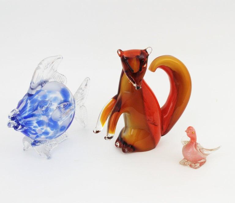 Alfredo Barbini Murano Squirrel Figure in Amber and Orange Glass For Sale 9