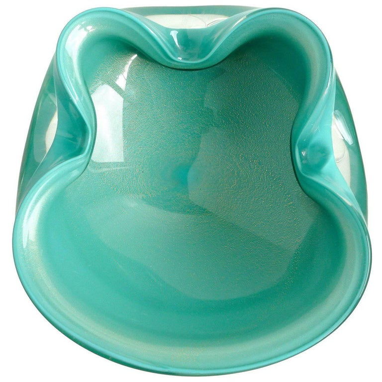 Alfredo Barbini Murano Teal Blue Green, Gold Flecks Italian Art Glass Candy Bowl