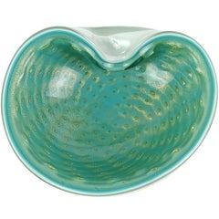 Alfredo Barbini Murano Teal Green Gold Flecks Italian Art Glass Ring Dish Bowl